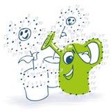 Desenho do ponto com lata molhando e flores Fotos de Stock Royalty Free