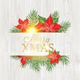 Desenho do quadro do visco do Natal com texto do feriado no fundo de madeira ilustração do vetor
