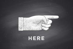 Desenho do sinal da mão com apontar o dedo no estilo da gravura ilustração stock