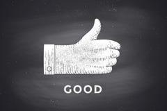 Desenho do sinal da mão com polegares acima no estilo da gravura ilustração royalty free