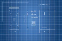 Desenho do smartphone do esboço Telefone em vistas diferentes Imagens de Stock
