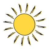 Desenho do sol da garatuja ilustração do vetor