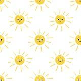 Desenho do sol de sorriso feliz doodle Teste padrão Fotos de Stock