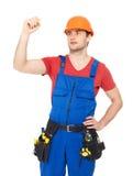 Desenho do trabalhador algo na tela Fotografia de Stock