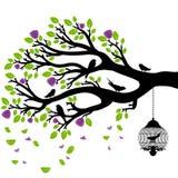 Desenho do vetor da árvore com gaiolas Imagens de Stock Royalty Free