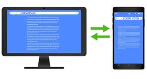 Desenho do vetor de um smartphone e de um tela de computador real?sticos do preto da imagem no fundo branco com as telas para ilustração royalty free