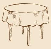 Desenho do vetor Mesa redonda com toalha de mesa Foto de Stock
