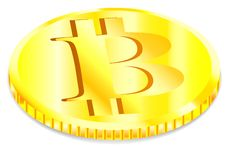 Desenho do vetor, moeda dourada do bitcoin no fundo branco ilustração stock
