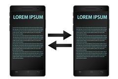 Desenho do vetor do smartphones pretos real?sticos no fundo branco com as telas para a informa??o ilustração stock