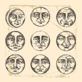 Desenho do vintage das faces do círculo Fotografia de Stock
