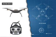 Desenho do zangão Modelo industrial o painel de controle Vista dianteira, superior ilustração do vetor