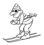 Desenho dos desenhos animados de um esquiador Foto de Stock Royalty Free