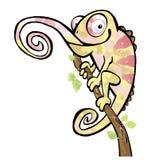 Desenho dos desenhos animados de um réptil do lagarto do camaleão Fotografia de Stock