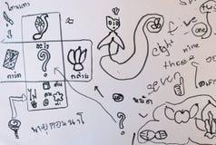 desenho dos desenhos animados pela criança no Livro Branco Fotos de Stock