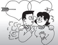 Desenho dos pares no amor Foto de Stock Royalty Free