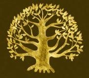 Desenho dourado da árvore, esboço Foto de Stock Royalty Free
