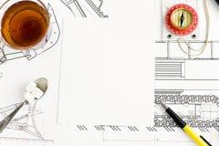 Desenho e chá foto de stock