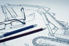 Desenho e lápis imagens de stock