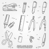 Desenho e linha fina do ícone das ferramentas da escrita para a Web e o móbil Fotografia de Stock