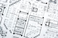 Desenho e plantas do arquiteto foto de stock royalty free