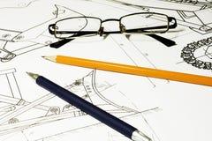 Desenho e vidros fotos de stock
