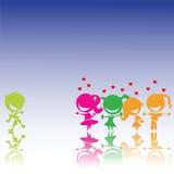 Desenho estilizado das meninas no amor com um menino Fotografia de Stock Royalty Free