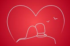Desenho estilizado de dois amantes Fotografia de Stock Royalty Free