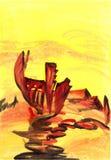 Desenho estrangeiro da aquarela da paisagem Fotografia de Stock Royalty Free