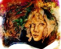 Desenho feericamente da cara da flor em cores do outono ilustração do vetor