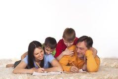 Desenho feliz da família Imagem de Stock