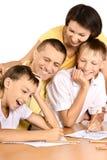 Desenho feliz da família Fotografia de Stock Royalty Free