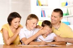 Desenho feliz da família Imagens de Stock Royalty Free