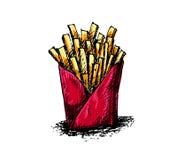 Desenho francês da mão do frie no fundo branco Imagem de Stock Royalty Free