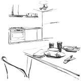 Desenho interior da cozinha, ilustração do vetor tabela de jantar Foto de Stock Royalty Free