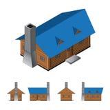Cabana rústica de madeira isométrica Fotografia de Stock