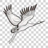 Desenho japonês do guindaste Ilustração conservada em estoque do vetor ilustração do vetor