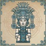 Desenho linear da cor: imagem decorativa de uma deidade indiana antiga ilustração royalty free