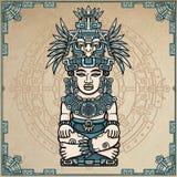 Desenho linear: imagem decorativa de uma deidade indiana antiga ilustração stock