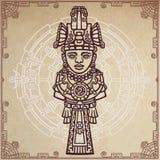 Desenho linear: imagem decorativa de uma deidade indiana antiga Círculo mágico Um fundo - imitação do papel velho ilustração do vetor