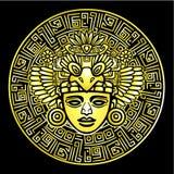 Desenho linear: imagem decorativa de uma deidade indiana antiga Imitação do ouro ilustração stock