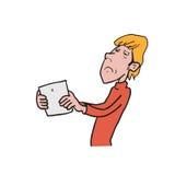 Desenho longo dos desenhos animados do sightedness do homem Imagem de Stock