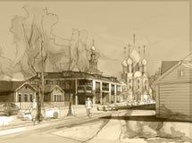 Desenho a mão livre da aquarela da ilustração e pintura da cidade pequena Fotografia de Stock