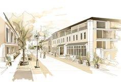 Desenho a mão livre da aquarela da ilustração e pintura da cidade pequena Imagem de Stock