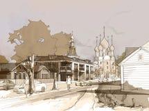 Desenho a mão livre da aquarela da ilustração e pintura da cidade pequena Imagem de Stock Royalty Free