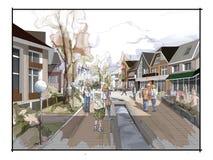 Desenho a mão livre da aquarela da ilustração e pintura da cidade pequena Fotos de Stock Royalty Free