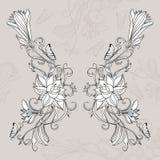 Desenho a mão livre dos lótus no estilo do leste Fotografia de Stock Royalty Free
