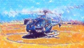 Desenho militar do sumário da ilustração do projeto da arte do helicóptero imagens de stock
