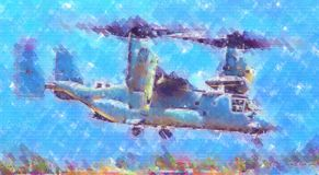 Desenho militar do sumário da ilustração do projeto da arte do helicóptero fotografia de stock royalty free