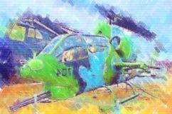 Desenho militar do sumário da ilustração do projeto da arte do helicóptero Foto de Stock Royalty Free