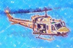 Desenho militar do sumário da ilustração do projeto da arte do helicóptero Fotos de Stock Royalty Free